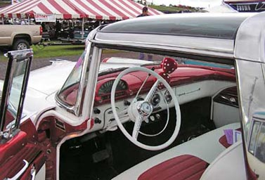 1955 Ford Skyliner Crown Victoria interior showing plexiglass roof